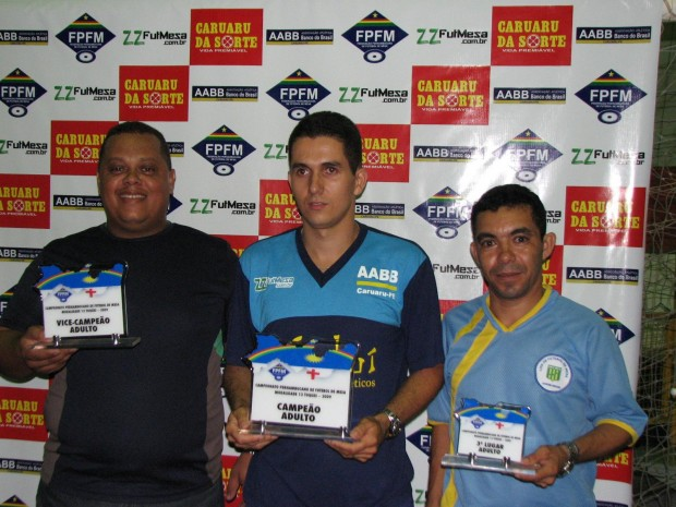 Júlio César ( Liga Jardim Brasil)- Diogo (AABB Caruaru) - Everaldo (Liga Jardim Brasil)